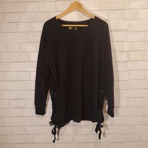 Xersion lace-up sides black sweatshirt